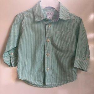 Baby Boy's Light Green Striped Button Down Shirt